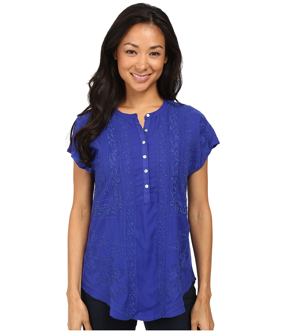 Lucky Brand - Embroidered Top (Clematis Blue) Women's Clothing