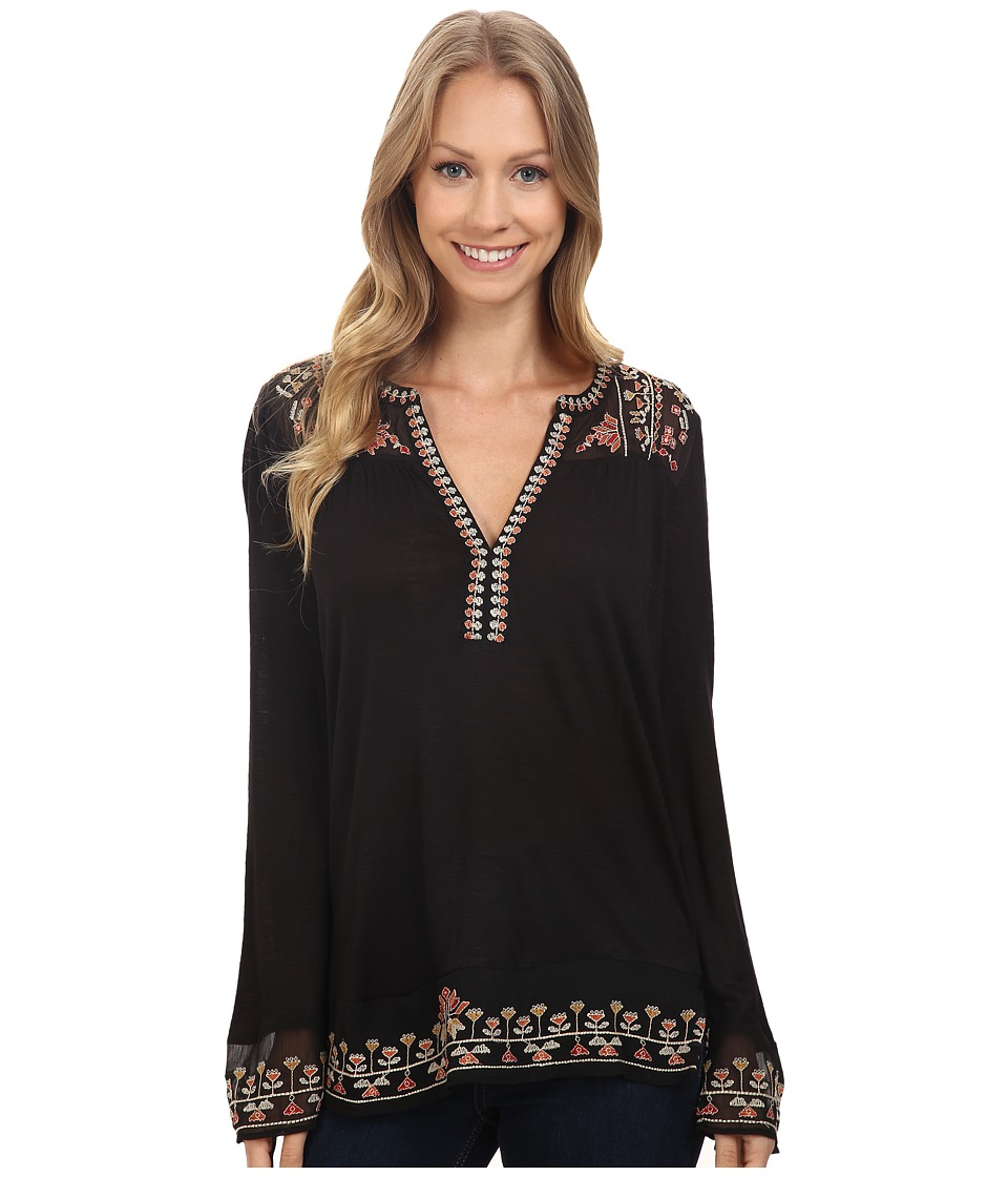 Lucky Brand - Embroidered Yoke Top (Jet Black) Women's Clothing