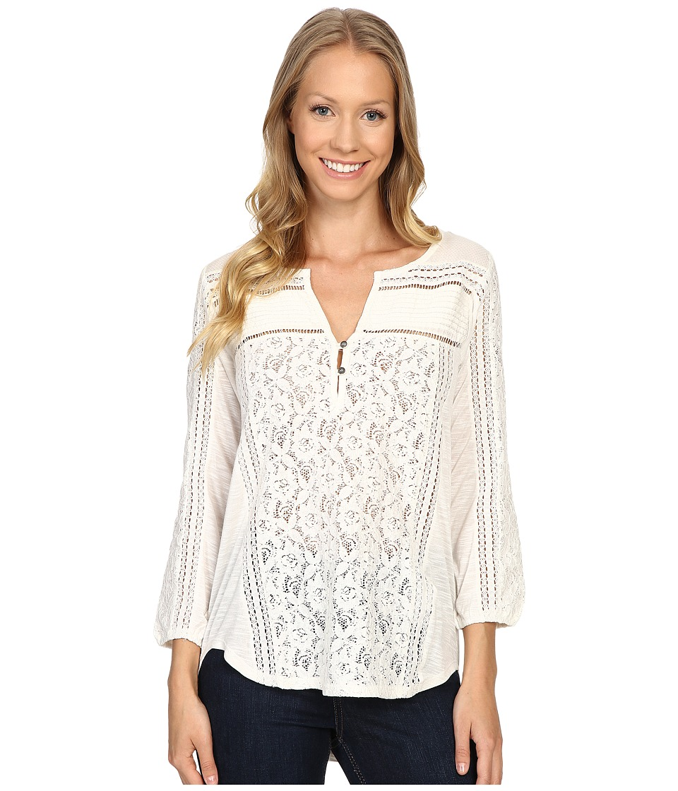 Lucky Brand - Mixed Lace Top (Whisper White) Women's Clothing