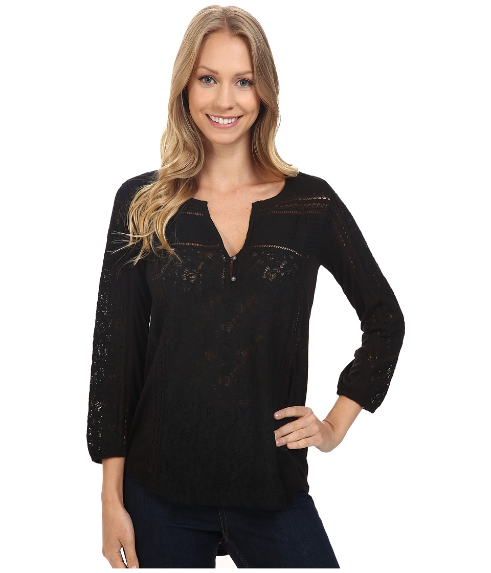 Lucky Brand - Mixed Lace Top (Lucky Black) Women's Clothing
