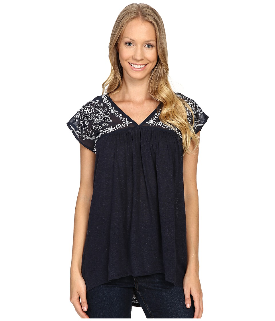 Lucky Brand - Sheer Yoke Embroidered Top (American Navy) Women's Clothing