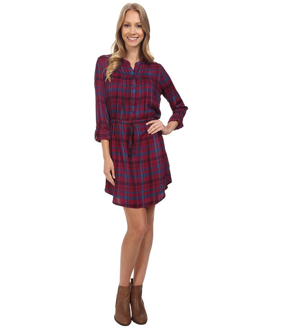 Lucky Brand - Bungalow Plaid Dress (Burgundy Multi) Women's Dress