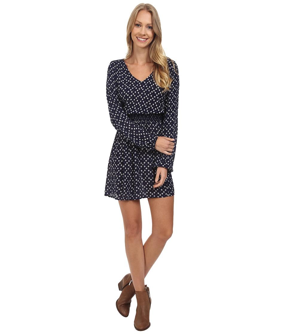 Lucky Brand Printed Smocked Dress (Blue Multi) Women