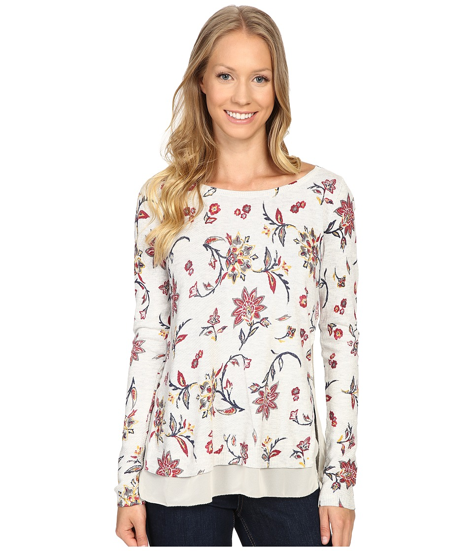 Lucky Brand - Floral Printed Pullover Sweater (Grey Multi) Women's Sweater