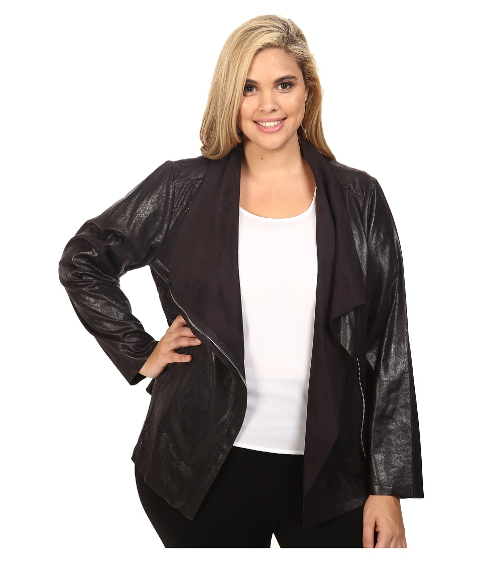 Calvin Klein Plus - Plus Size Distressed Flyaway Jacket (Black) Women's Coat plus size,  plus size fashion plus size appare