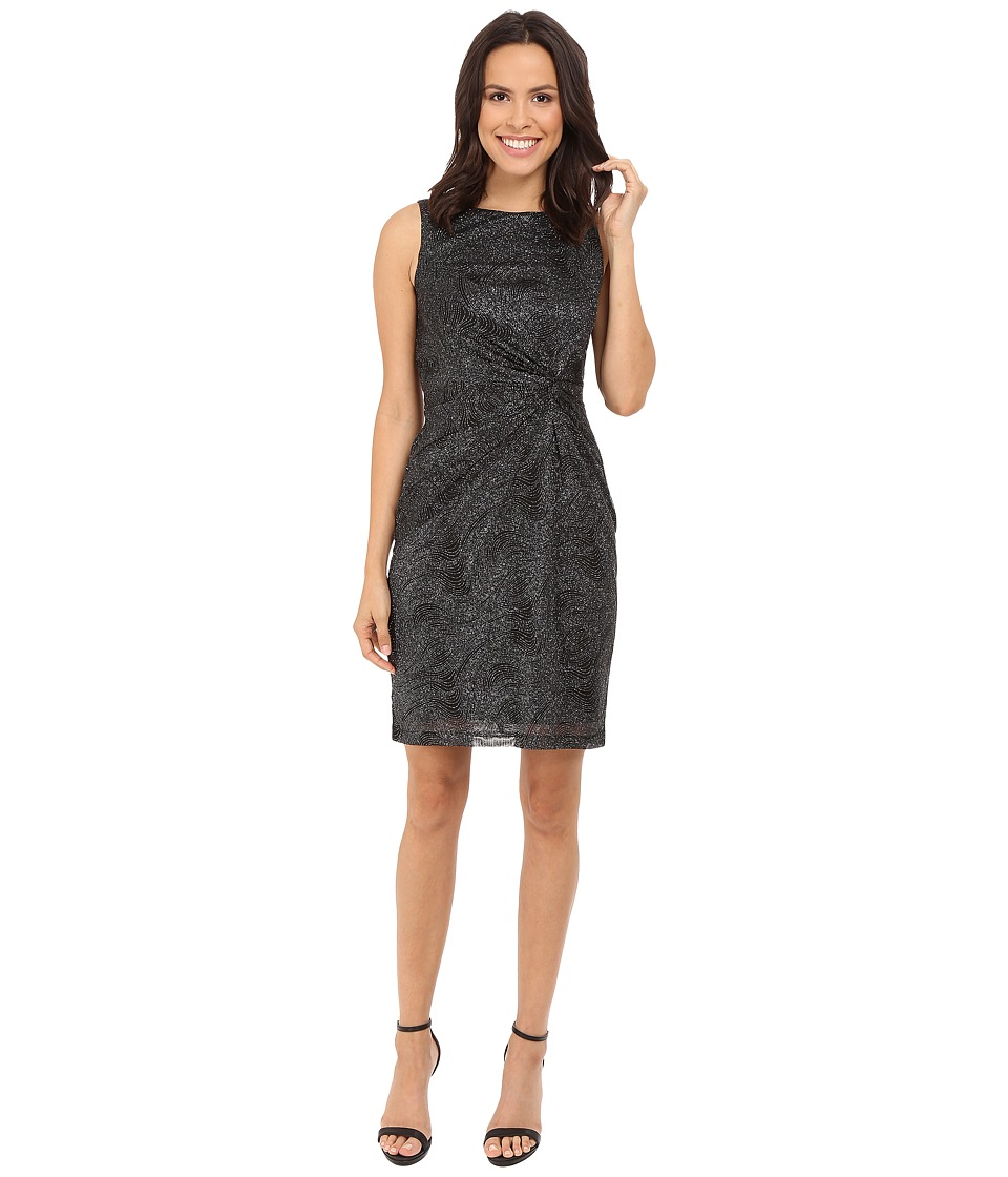 Calvin Klein Round Neck Sleeveless Side Knot Sheath Black Dress