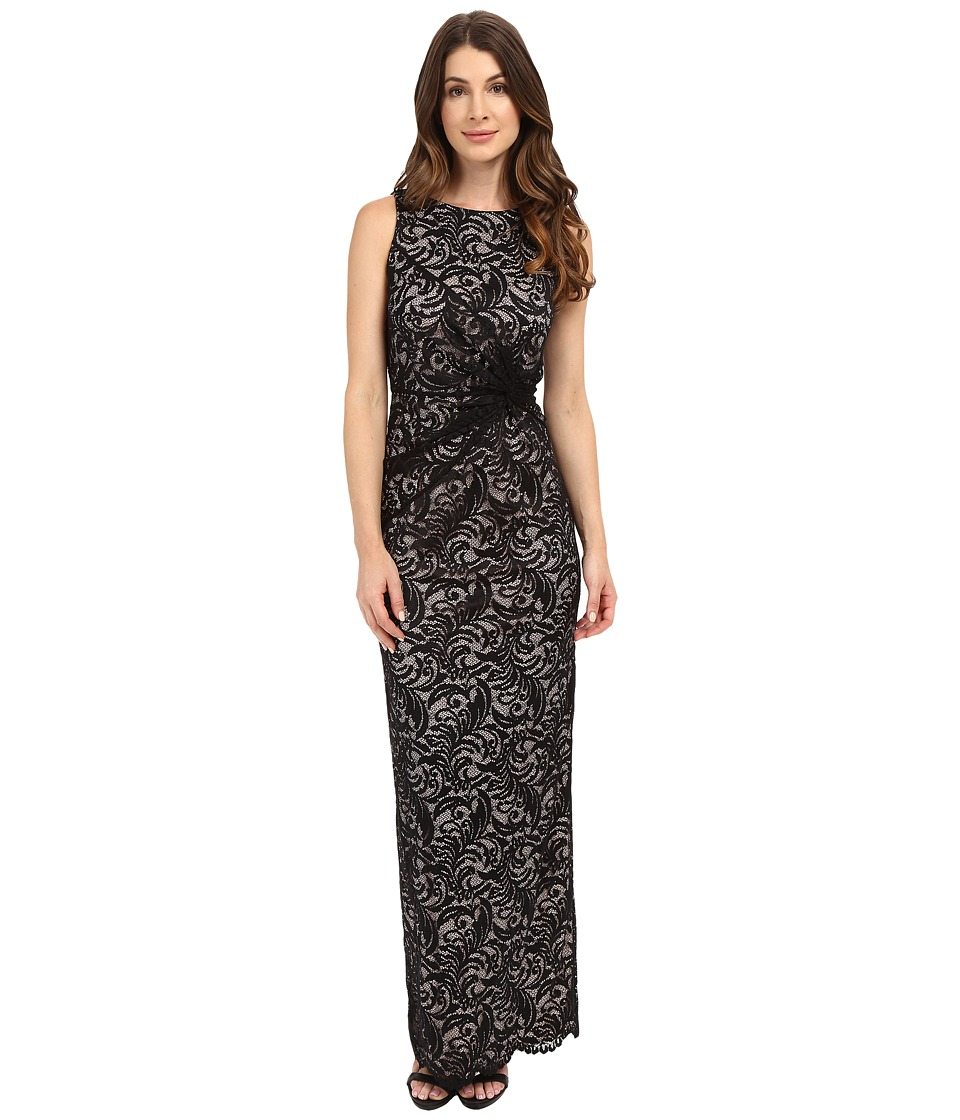Calvin Klein - Lace Side Twist Gown (Black) Women's Dress