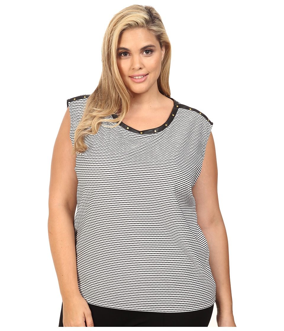Calvin Klein Plus - Plus Size Textured Top w/ Rivets (Black/White Stripe) Women's Sleeveless