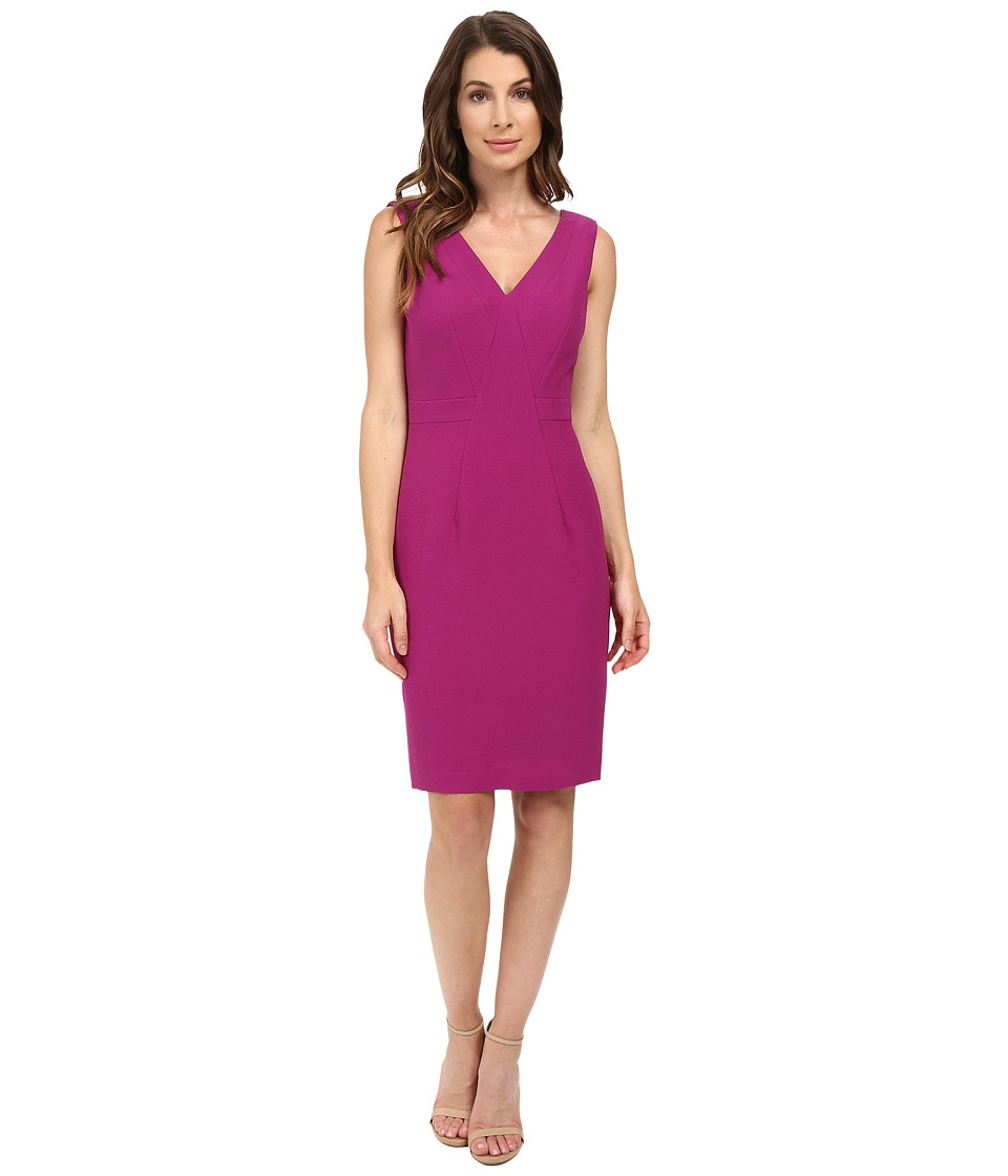 Adrianna Papell - V-Neck Dress w/ Center Front Seaming Detail (Deep Berry) Women's Dress