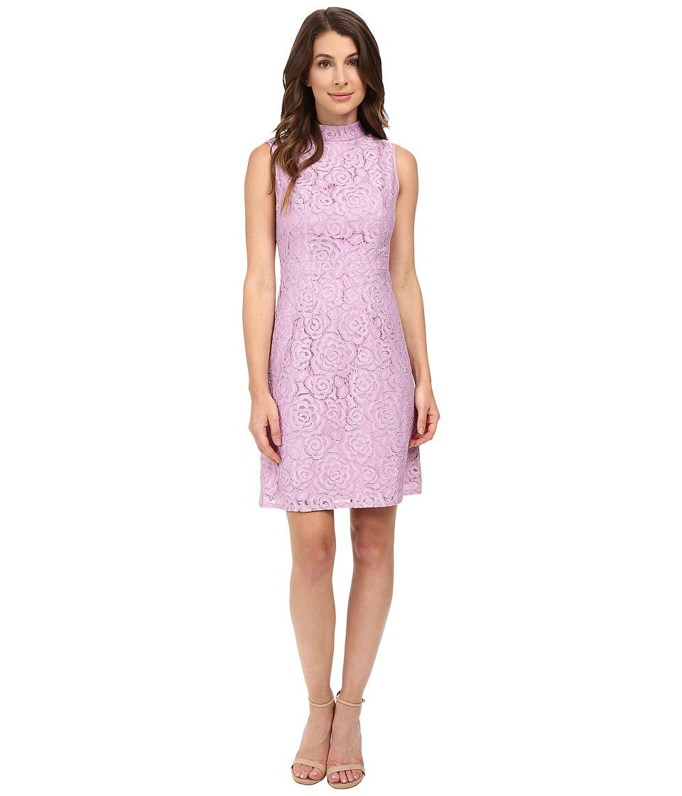 Adrianna Papell A-Line Mock Neck Juliet Lace Dress (Heather Pink) Women
