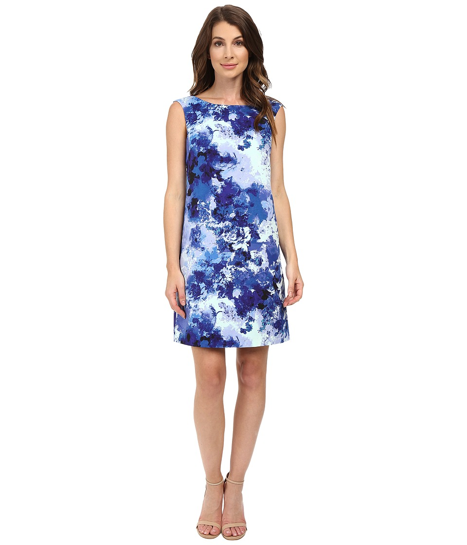 Adrianna Papell - Printed Faille Simple Shift Dress (Blue Multi) Women's Dress