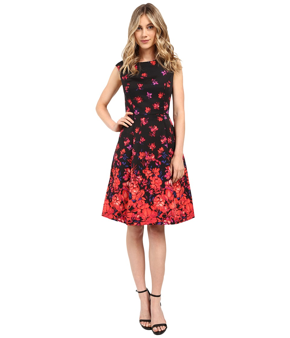 Adrianna Papell - Printed Faille Fit and Flare Dress (Coral Multi) Women's Dress