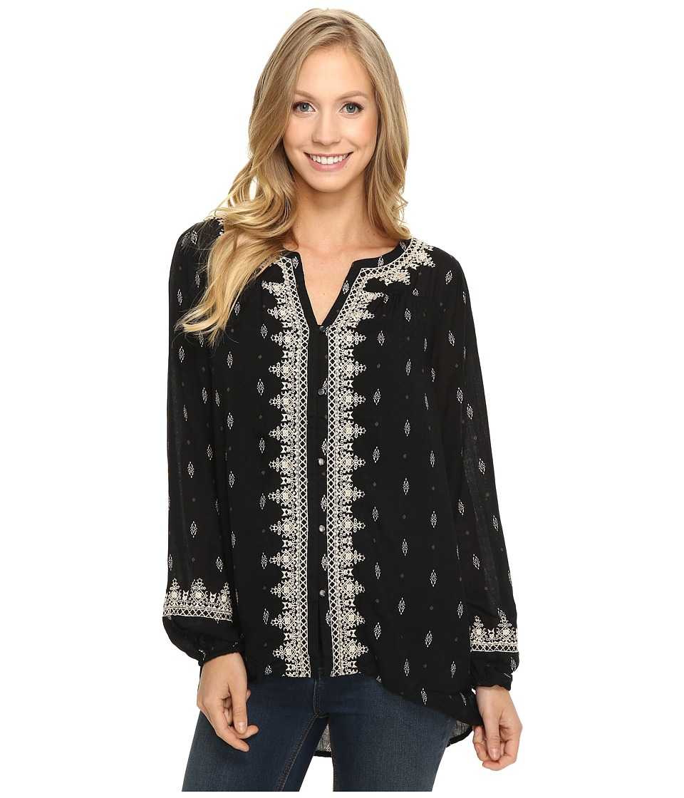 Lucky Brand - Ditsy Embroidered Top (Black Multi) Women's Clothing