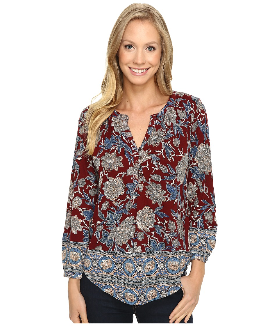 Lucky Brand - Burgundy Floral Top (Red Multi) Women's Clothing