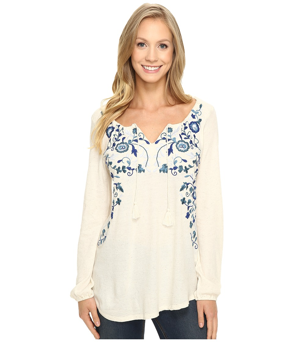 Lucky Brand - Embroidered Peasant Top (White Ground) Women's Clothing
