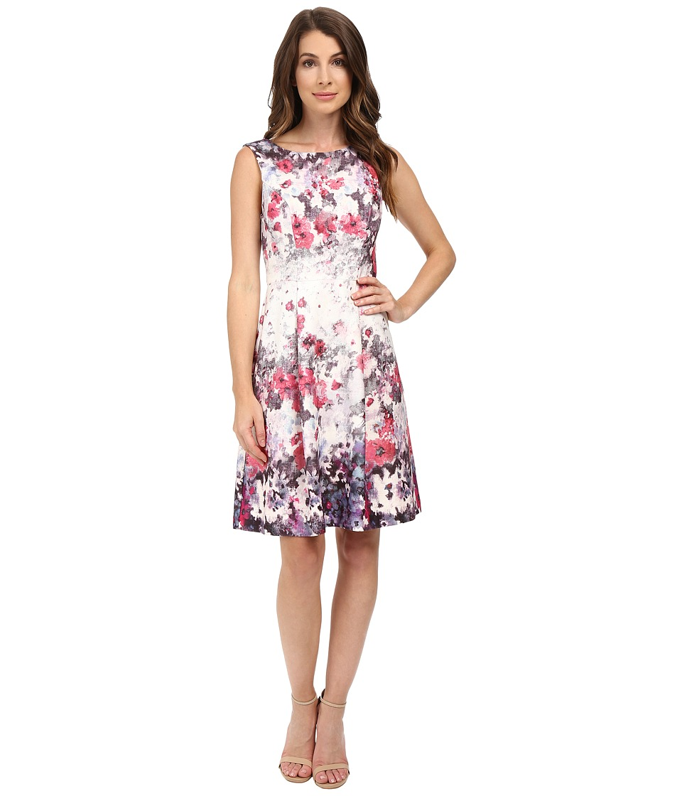 Adrianna Papell - Floral Print Bateau Neck Fit and Flare Dress (Purple/Pink) Women's Dress