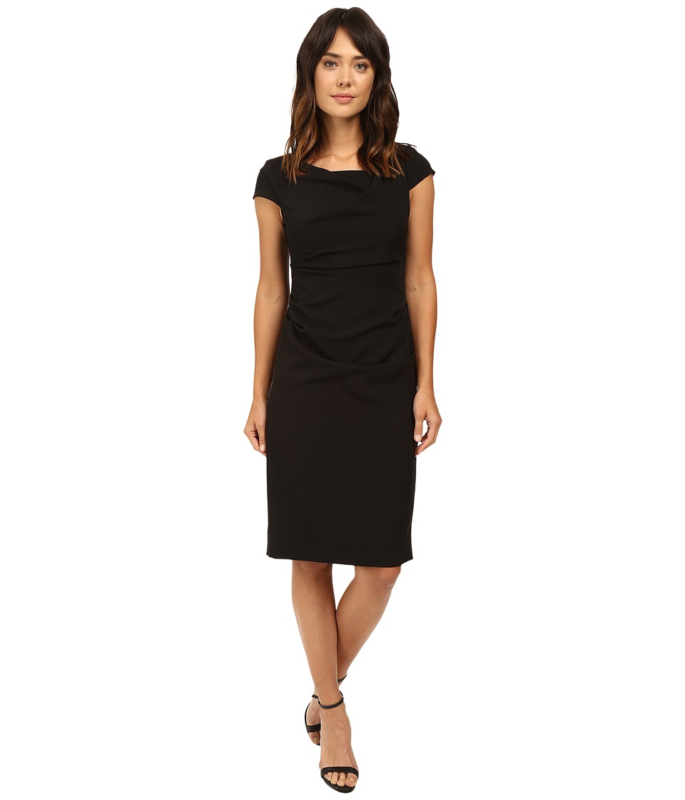 Adrianna Papell Cowl Side Rusched Sheath Dress (Black) Women