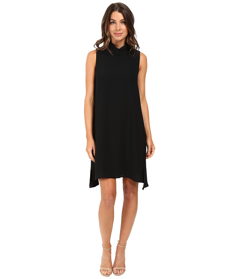 Adrianna Papell - Roll Neck Gauzy Crepe Dress (Black) Women's Dress