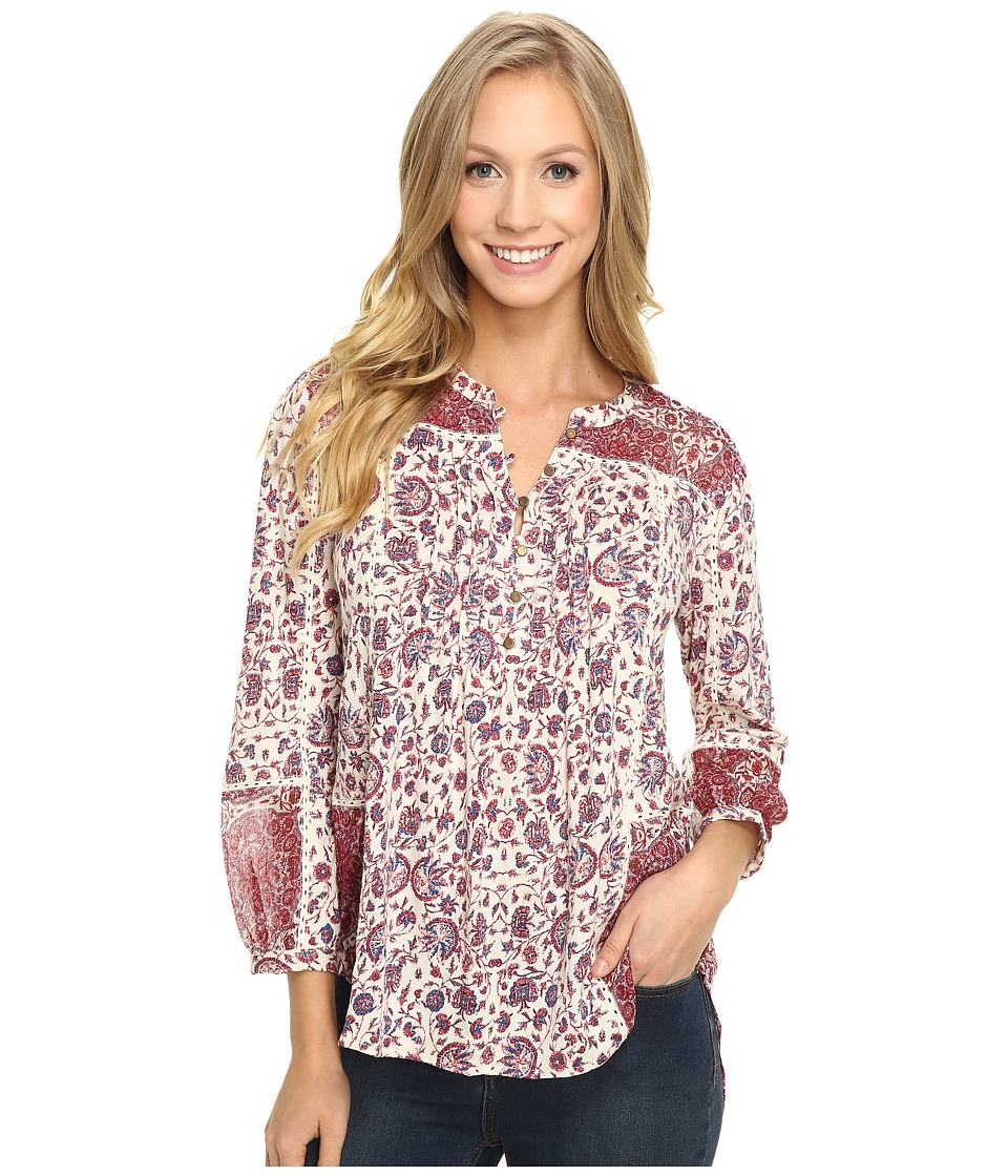 Lucky Brand - Woven Mixed Floral Top (Natural Multi) Women's Clothing