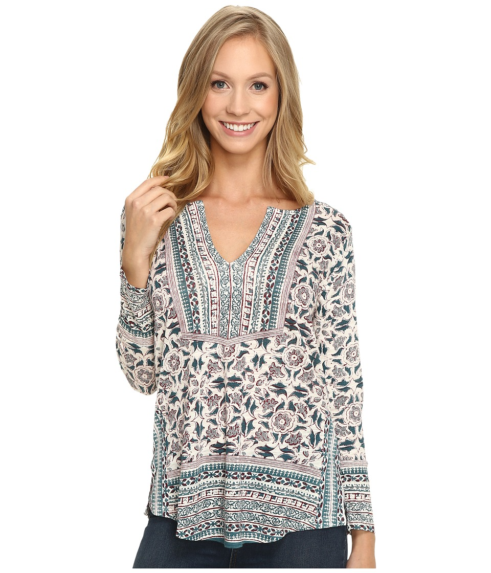 Lucky Brand - Block Floral Top (Green Multi) Women's Clothing