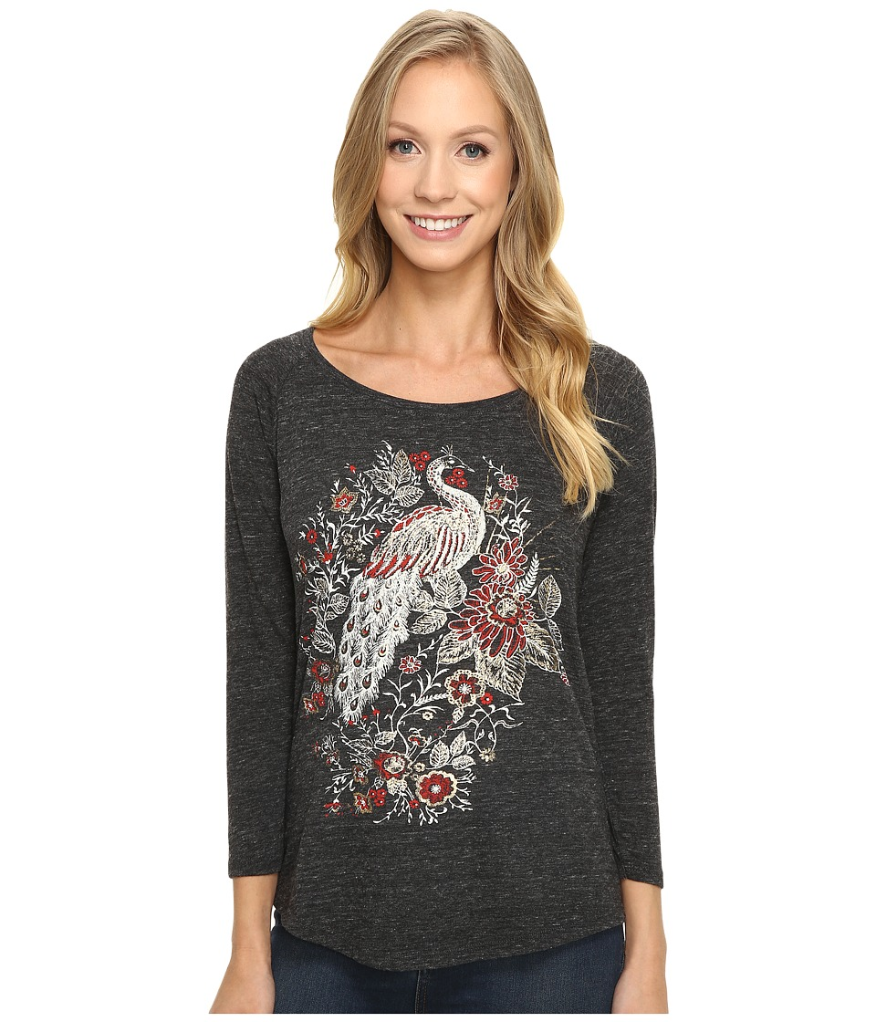 Lucky Brand - Peacock Metallic Graphic Tee (Jet Black) Women's T Shirt