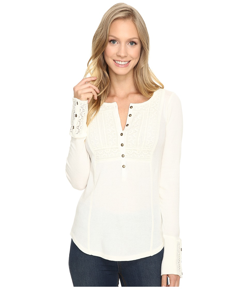 Lucky Brand - Washed Bib Henley Thermal Top (Marshmallow) Women's Clothing