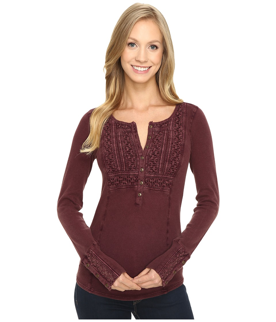 Lucky Brand - Washed Bib Henley Thermal Top (Port Royale) Women's Clothing