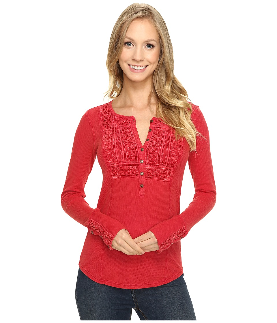 Lucky Brand - Washed Bib Henley Thermal Top (Berry Red) Women's Clothing
