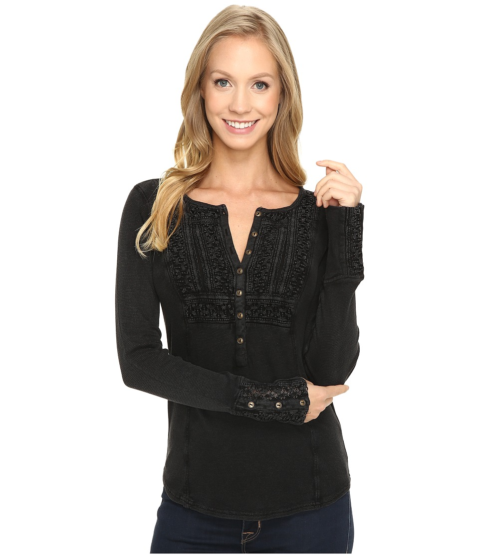 Lucky Brand - Washed Bib Henley Thermal Top (Jet Black) Women's Clothing