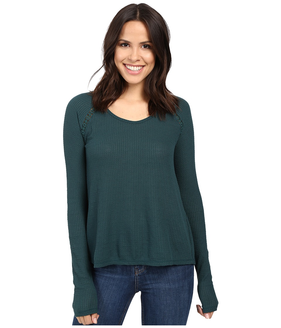 Lucky Brand - Lace Mixed Thermal Top (Sea Moss) Women's Clothing