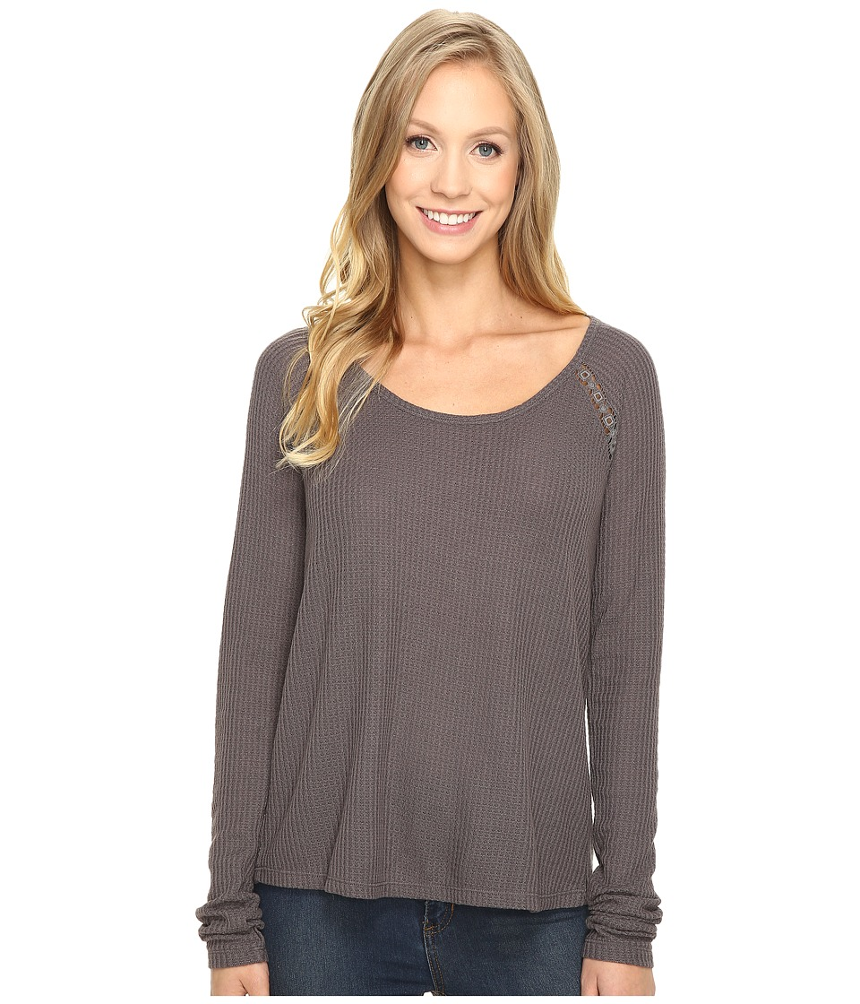 Lucky Brand - Lace Mixed Thermal Top (Pavement) Women's Clothing