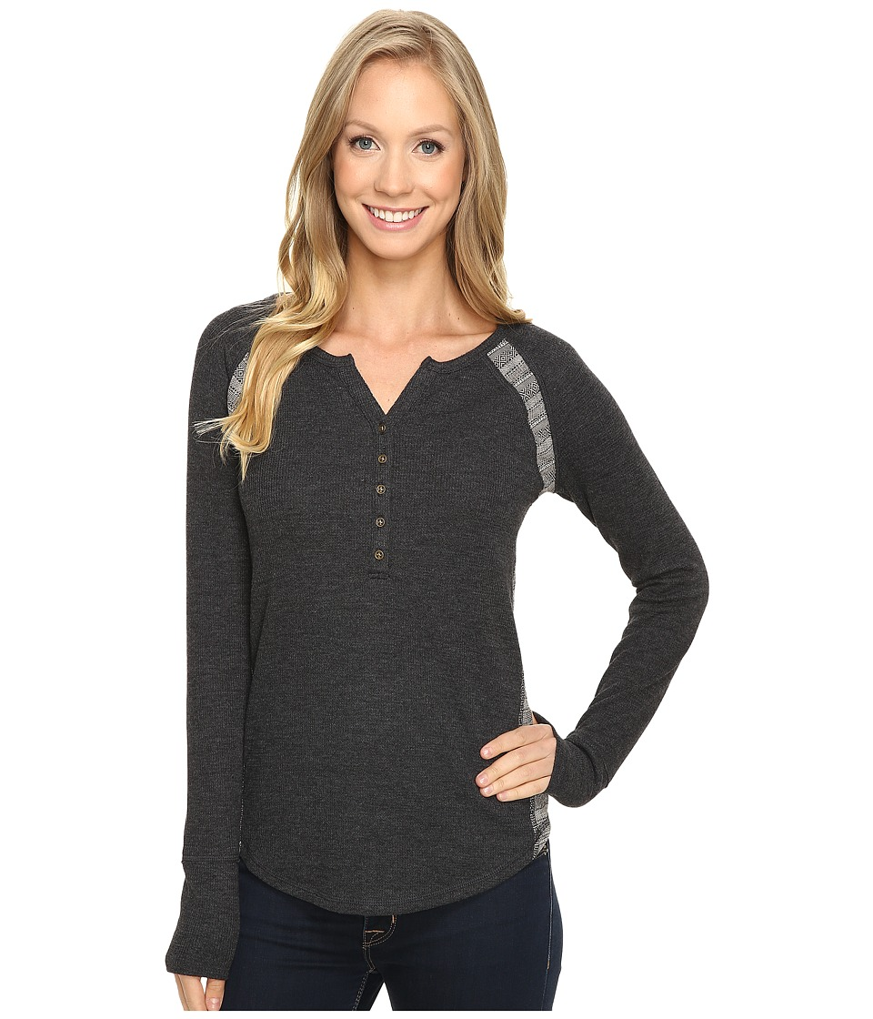 Lucky Brand - Pieced Thermal Top (Jet Black) Women's Clothing