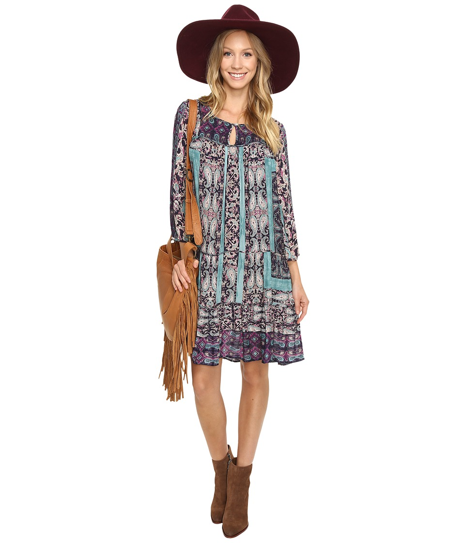 Lucky Brand - Scarf Print Dress (Navy Multi) Women's Dress