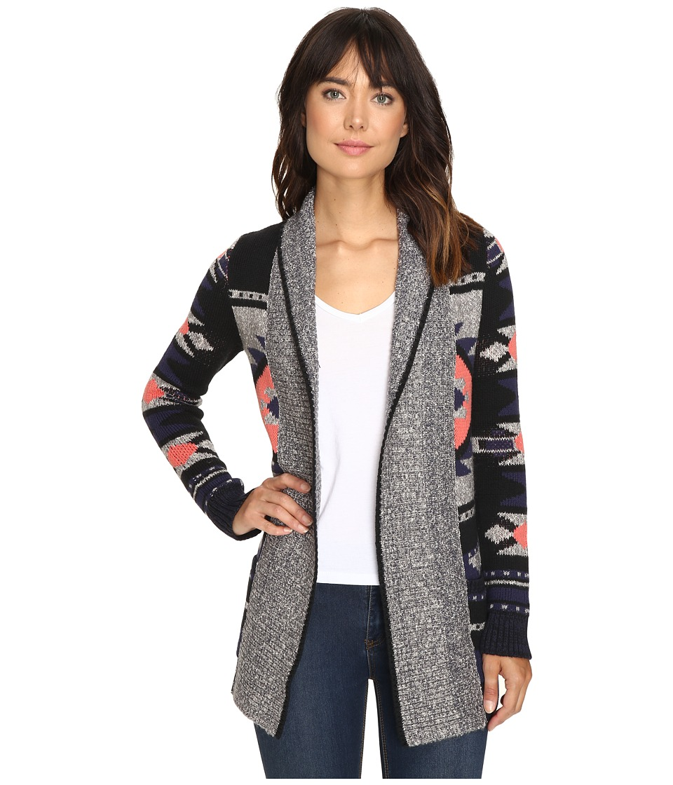 Lucky Brand - Intarsia Sweater Coat (Grey Multi) Women's Coat