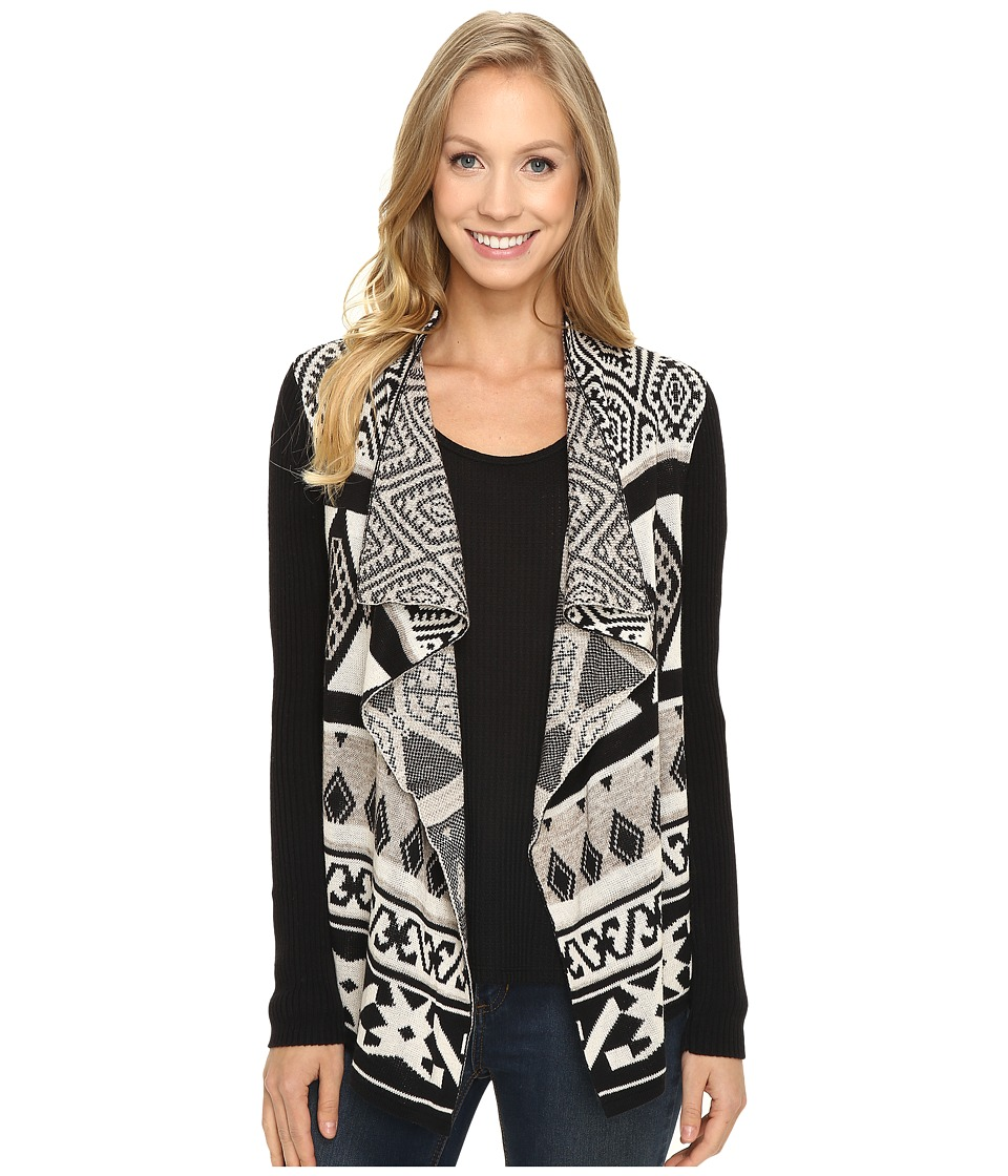 Lucky Brand - Drape Cardigan (Black Multi) Women's Sweater