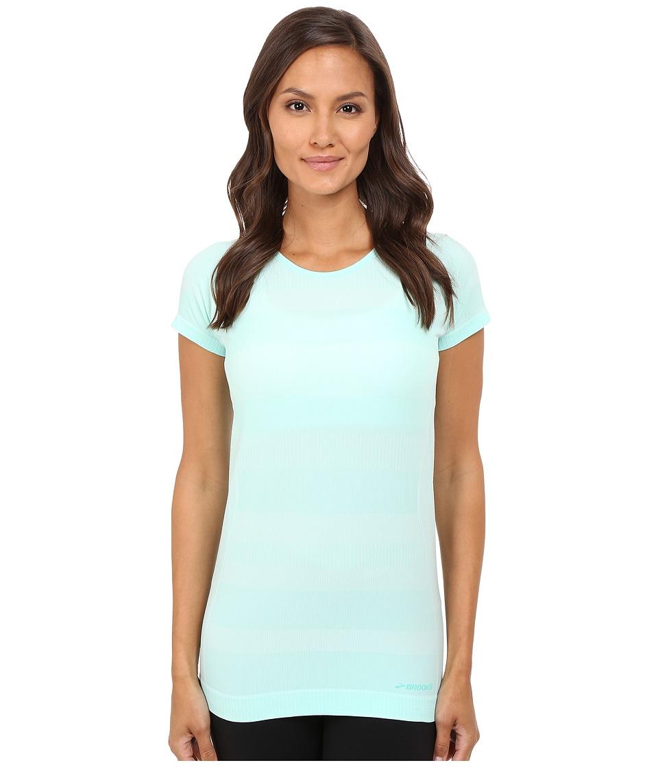 Brooks - Streaker Short Sleeve Top (Heather Surf) Women's Short Sleeve Pullover