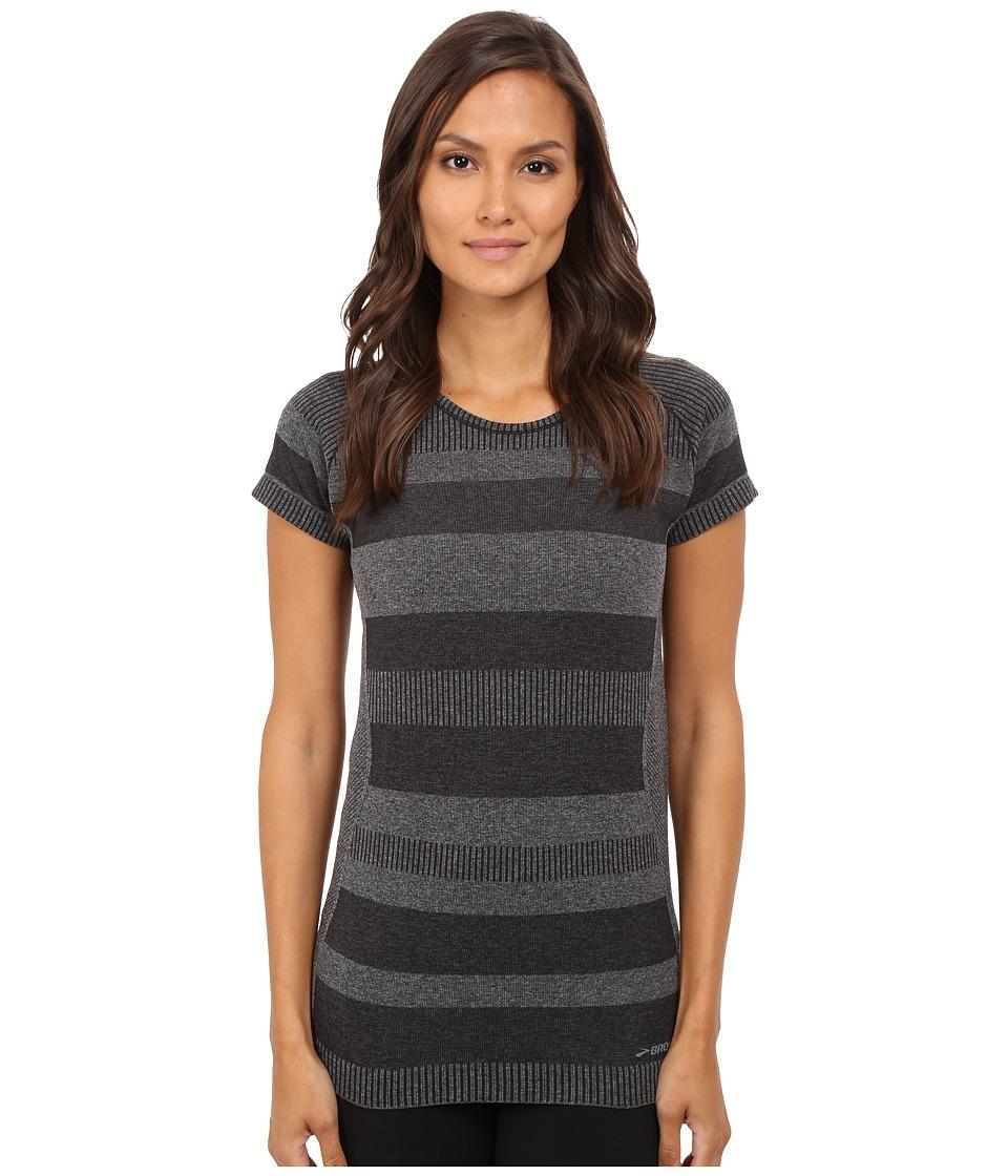 Brooks - Streaker Short Sleeve Top (Heather Black) Women's Short Sleeve Pullover