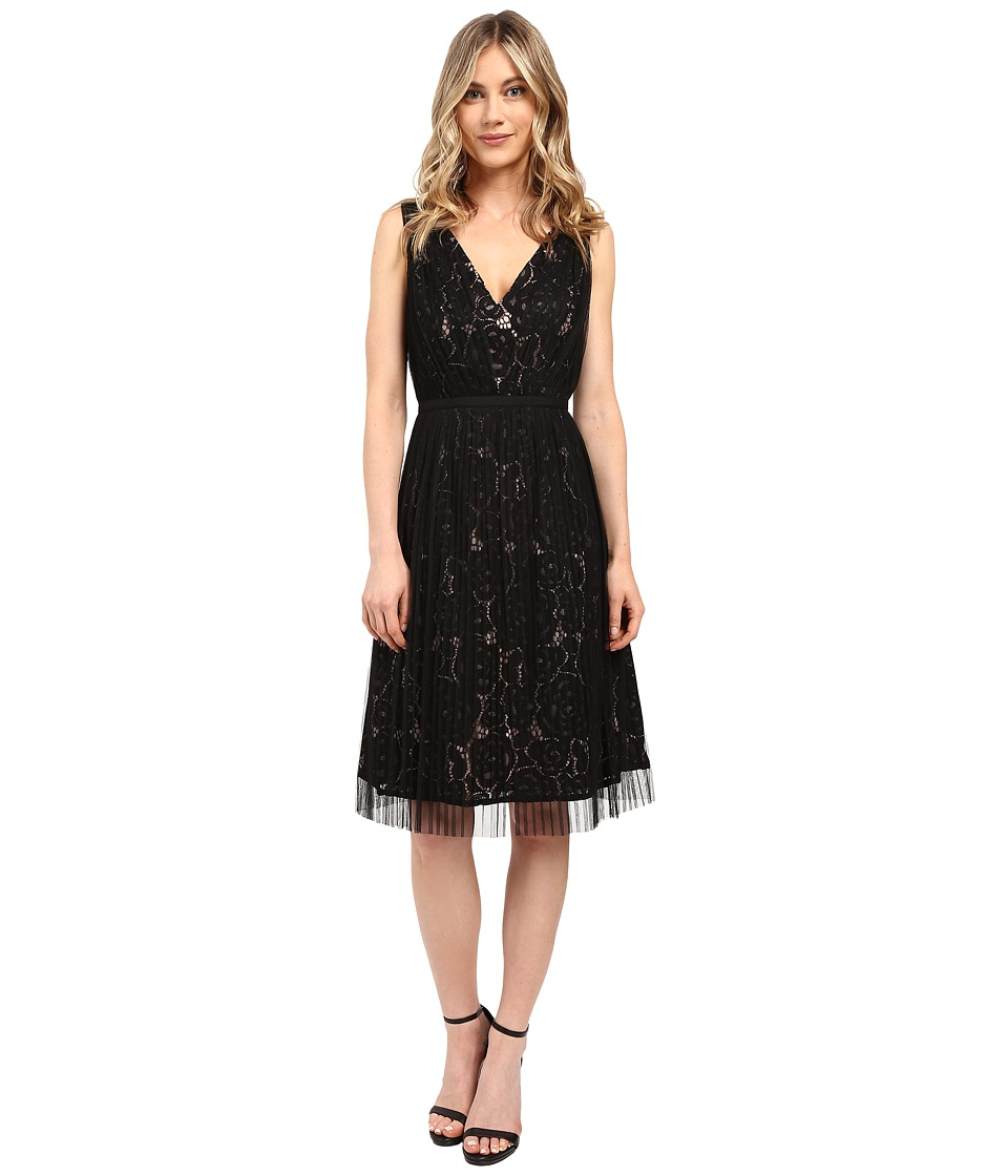 Adrianna Papell - Netting Overlay Juliet Lace Fit and Flare Dress (Black/Pale Pink) Women's Dress