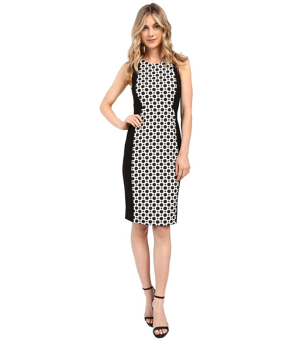 Adrianna Papell Ikat Dot Jacquard Blocked Sheath Dress