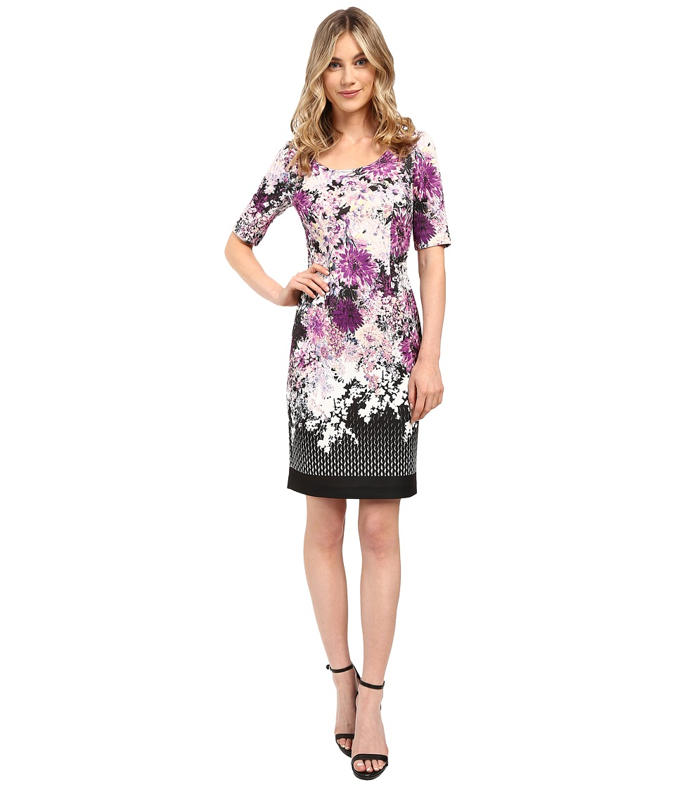 Adrianna Papell - Floral and Geo Printed Scuba Sheath Dress w/ Sleeve (Purple Multi) Women's Dress