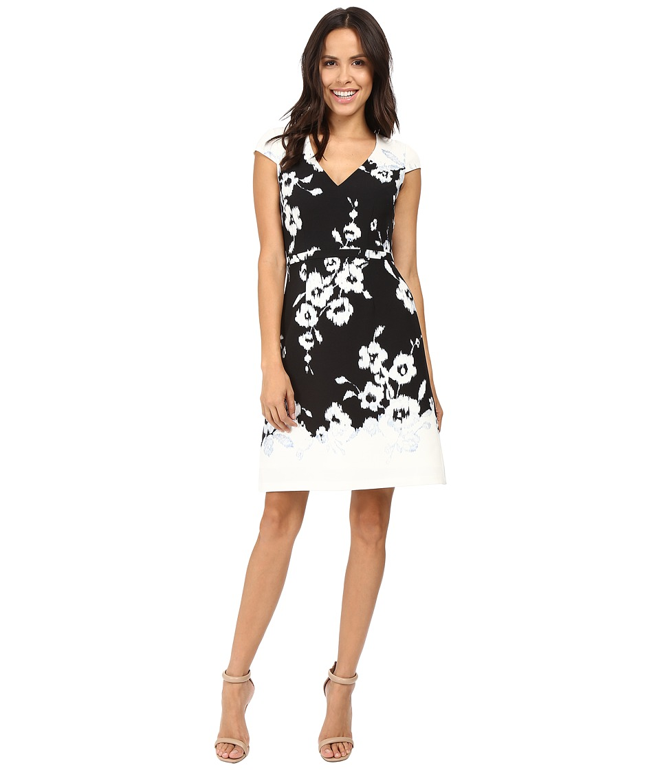 Adrianna Papell Ikat Floral Printed Fit and Flare Dress