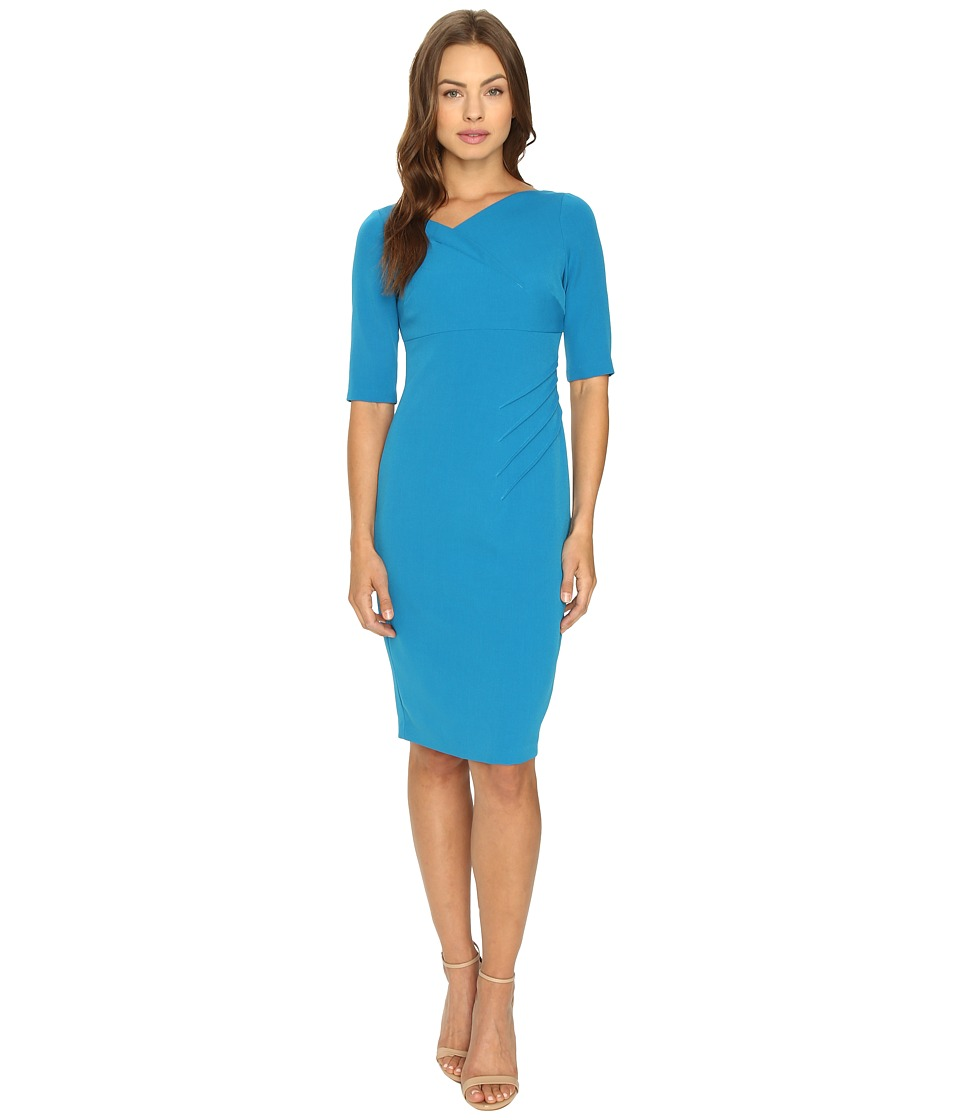 Adrianna Papell - Minimalist Origami Neckline Sheath Dress (Flashy Cerulean) Women's Dress