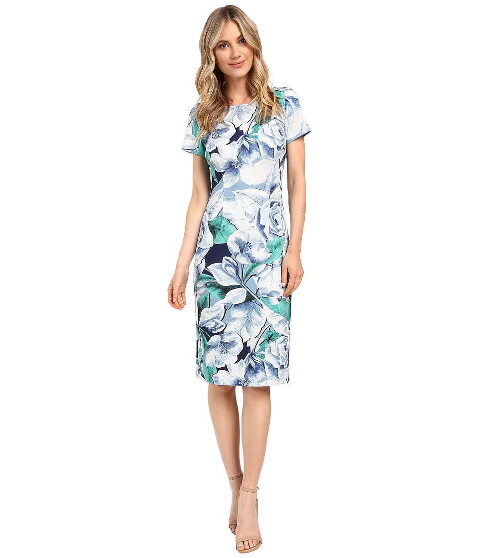 Adrianna Papell - Picasso Floral Printed Fitted Sheath Dress (Navy/White) Women's Dress