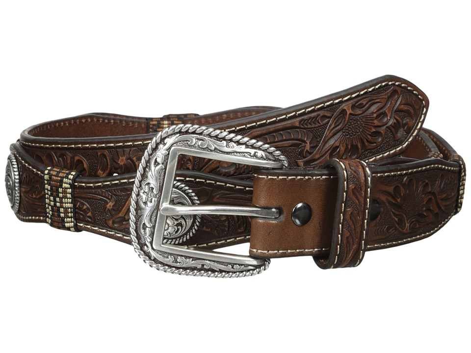 Ariat - Scalloped Floral Belt (Brown) Men's Belts
