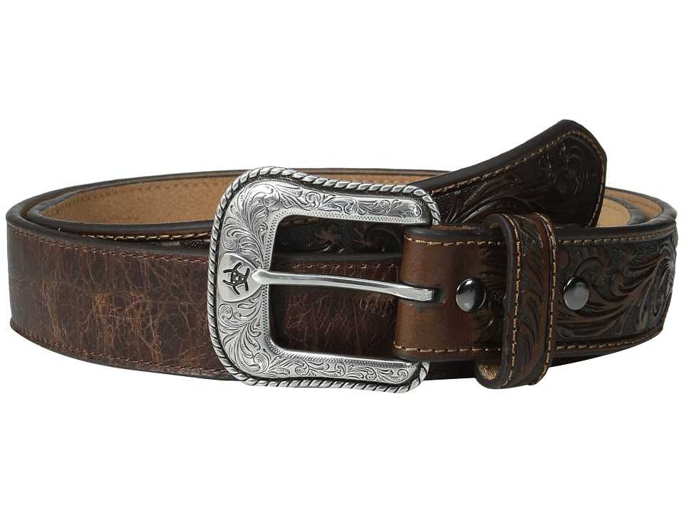 Ariat - Floral Embossed Belt (Brown) Men's Belts