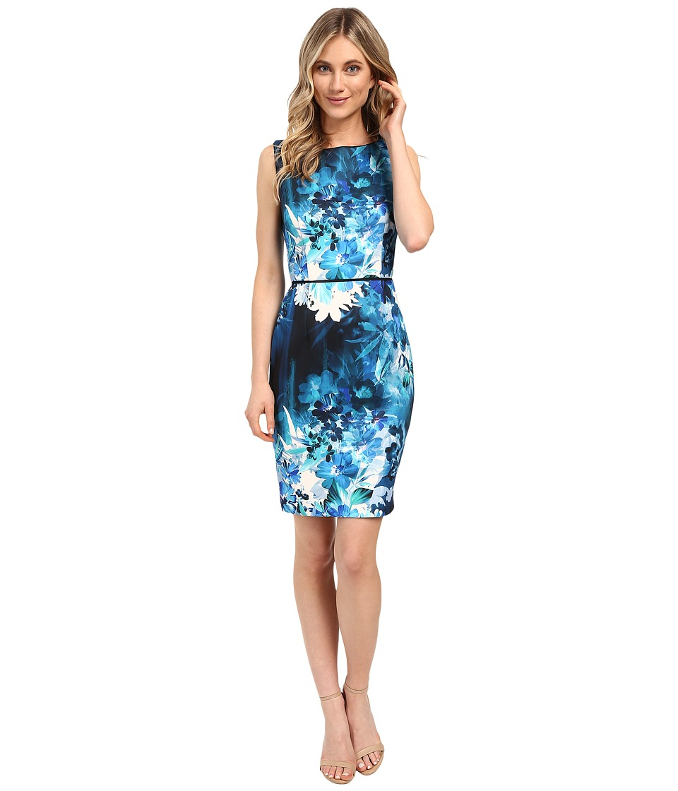 Adrianna Papell - Placed Print Sheath Dress (Teal Multi) Women's Dress