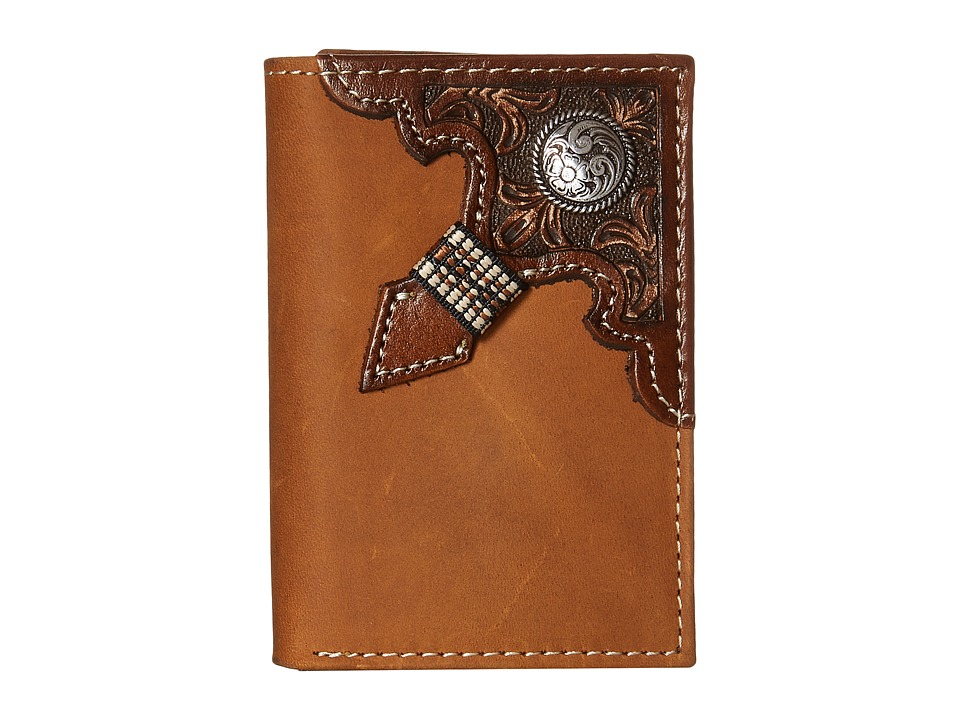 Ariat - Embossed with Concho Trifold Wallet (Brown) Bi-fold Wallet