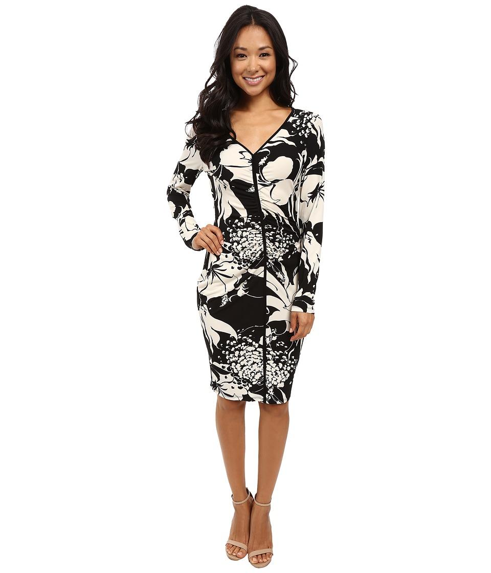 Adrianna Papell - V-Neck Center Ruched Dress (Black Multi) Women's Dress