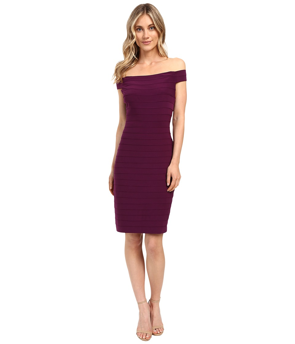 Adrianna Papell - Off Shoulder Novelty Stitched Band Dress (Winter Blackberry) Women's Dress