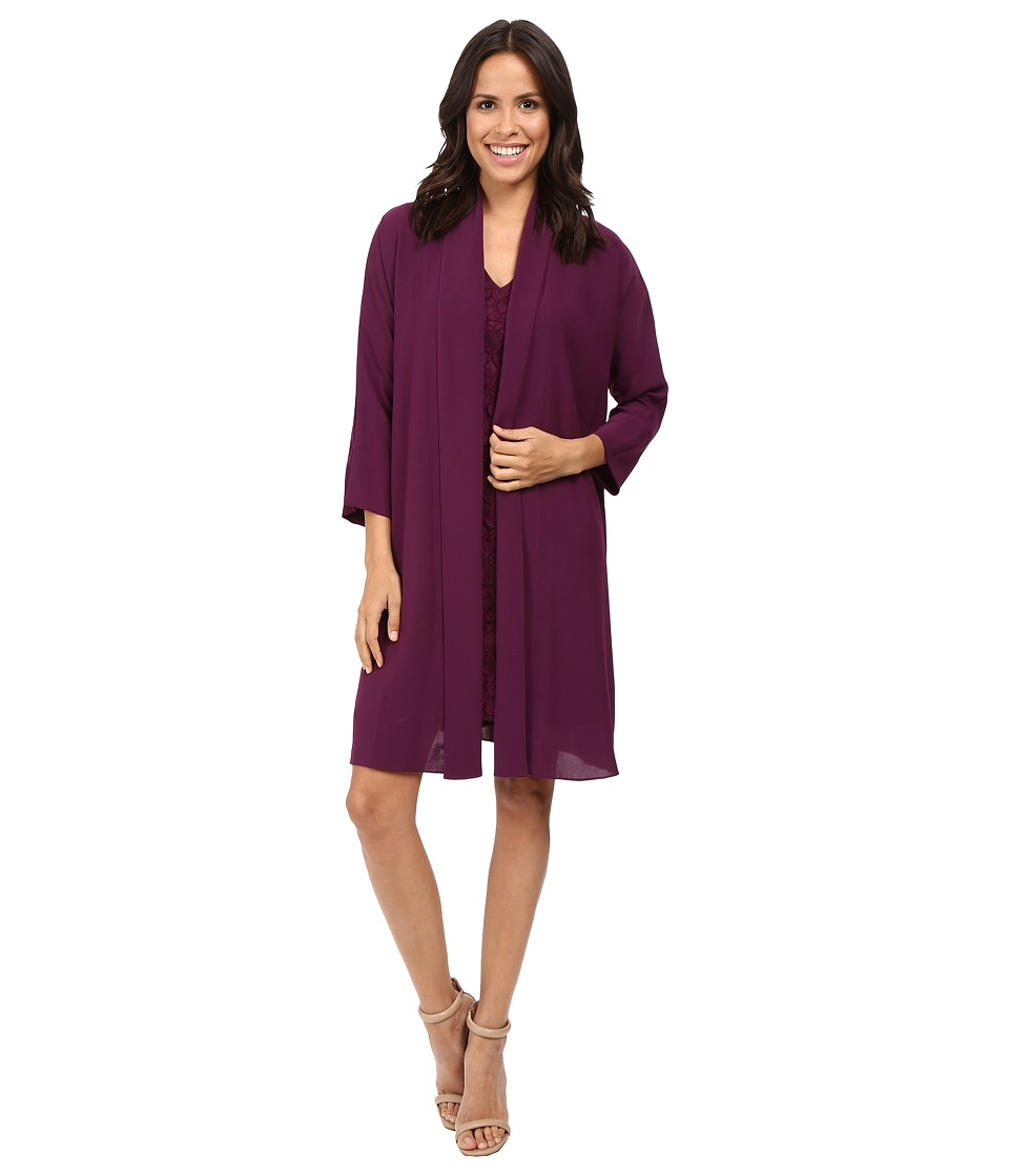 Adrianna Papell - Draped Jacket w/ V-Neck Lace Dress (Winter Blackberry) Women's Dress